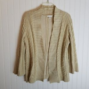 Charter Club Gold-Tan 3/4 Sleeve Open Sweater